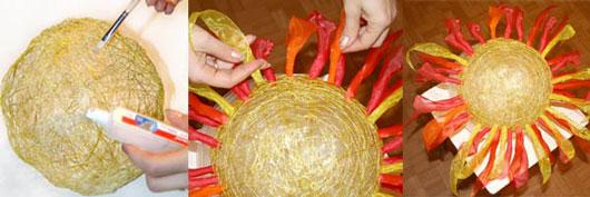 Поделка солнышко своими руками из ниток 84